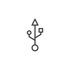 USB connection line icon, outline vector sign, linear style pictogram isolated on white. Port usb symbol, logo illustration. Editable stroke