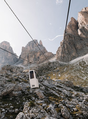 Cable road at Sella Pass in Dolomites mountains during daytime, South Tyrol, Italy