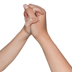 Hand of child and woman holding together isolated on white background