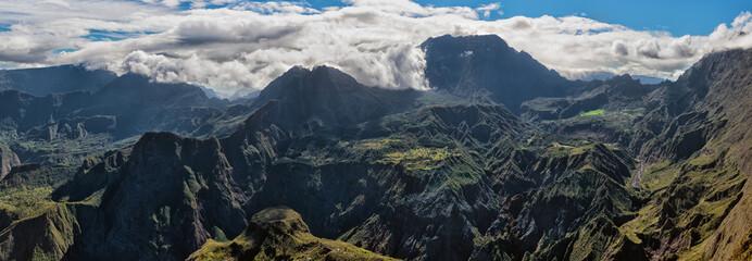 Foto auf AluDibond Gebirge cirque of mafate, highlands of the réunion island , panoramic view from maïdo summit.