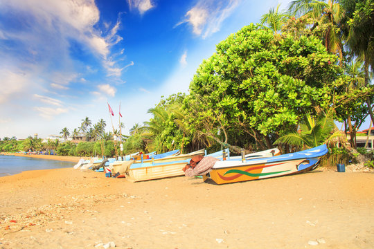 Bright boats on the tropical beach of Bentota, Sri Lanka on a sunny day