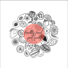Hand drawn sketch style set of fruits. Vector illustration.