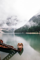 Boats on Lago di Braies in Dolomites, Italy