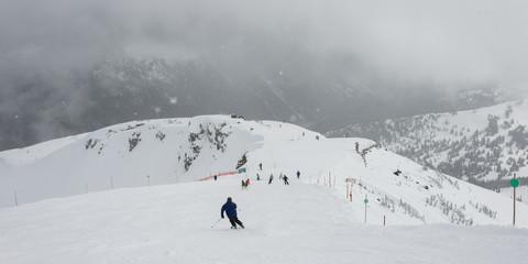 Skiers on snowy mountain, Whistler, British Columbia, Canada
