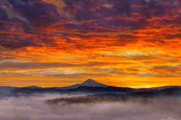 First Light on snow covered Mount Hood during Sunrise in Oregon