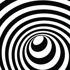 3d tunnel optical illusion. A black and white vector illustration.