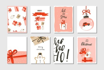 Hand drawn vector abstract big Merry Christmas time and New Year cartoon cards collection set with cute illustrations,surprise gift boxes,dogs and modern calligraphy isolated on white background