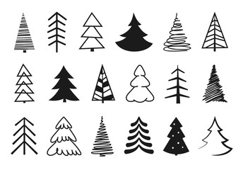 Hand drawn Christmas tree silhouettes. Black isolated christmas trees on white background.