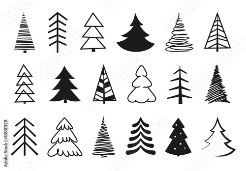 """""""Hand Drawn Christmas Tree Silhouettes. Black Isolated"""
