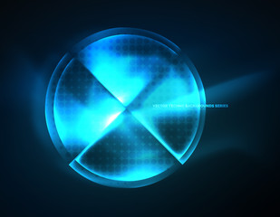 Circular glowing neon shapes, techno background