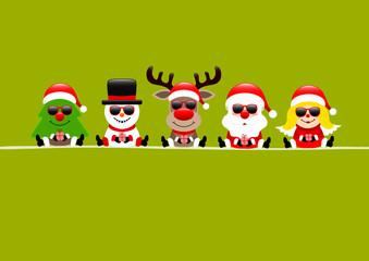 Tree, Snowman, Rudolph, Santa & Angel Sunglasses Light Green