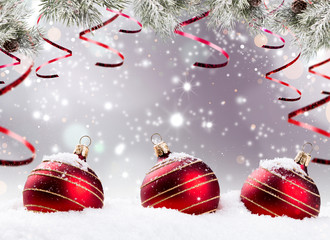 Christmas decoration with free space. Celebration balls and other decoration. Christmas concept