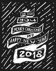 Stylized congratulations with Christmas and new year on a ribbon drawn on a chalk board