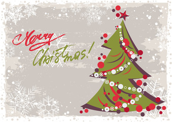 Grunge retro style greeting card for Merry Christmas and Happy New Year with stylized Christmas tree and hand written lettering in christmas colors. Vector illustration