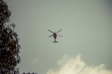 Israeli military UH-60 Black Hawk helicopter flying in the sky