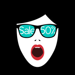 Abstract surprised woman face. Sale banner is reflected in the glasses