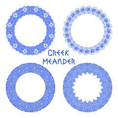 Vector set of round greek frames 2