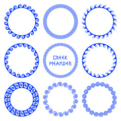 Vector set of round greek frames 3
