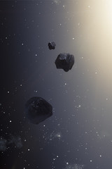 asteroids in the deep space