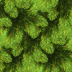 Seamless Christmas tree pattern. Winter background, made of green fir branches. New year or Xmas design. Realistic natural pine tree