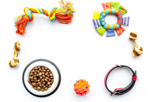 Concept pet care, playing and training. Toys, accessories and feed on white background top view copyspace