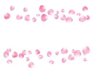 Flying Rose Petals Confetti. Vector Realistic Blossom Illustration. Love, Wedding, Valentine Decoration, Japanese Sakura Ornament. Falling Down Rose Petals Confetti, Magic Showering Floral Background