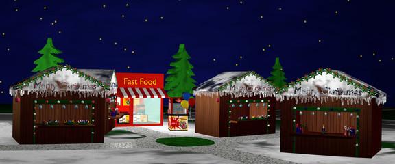Christkindlmarkt bei Nacht. Panorama
