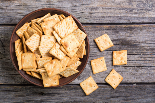 Homemade crackers in bowl