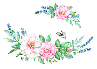 Beautiful watercolor floral decorative elements for design of greeting, wedding cards and invitations.
