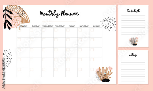 cute monthly planner with flowers to do list notes printable