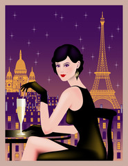 Sitting girl on a background of Paris at night. Handmade drawing vector illustration. Vintage style.