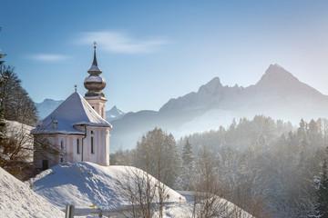 Maria Gern chapel with Watzmann at Berchtesgadener Land, Bavaria, Germany Wall mural