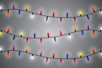 Christmas lights isolated on transparent background. Xmas glowing garland. Vector illustration.