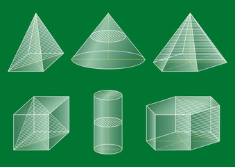 3d basic shapes. Prism, cube, pyramid, cone, cylinder. Cross-section.