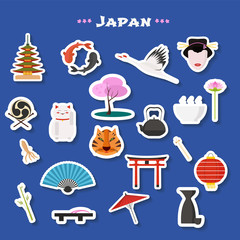 Travel to Japan vector icons set
