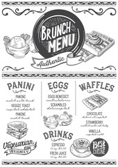 Brunch menu restaurant, food template.