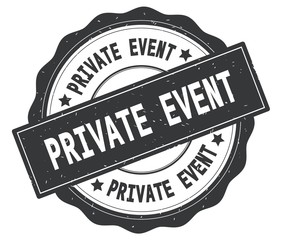 PRIVATE EVENT text, written on grey round badge.