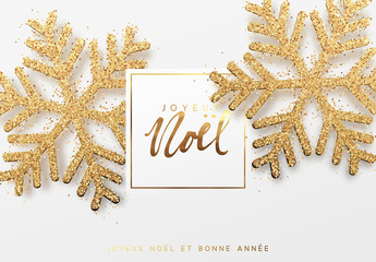 French text Joyeux Noel. Christmas background with shining gold snowflakes. Xmas festive greeting card vector Illustration.