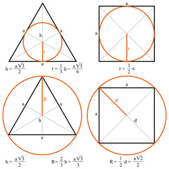 Circle, triangle and square.  Circle inscribed in a triangle and square. Circle escribed in a triangle and square.