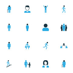 People Colorful Icons Set With Contact, Worker, Client And Other Jogging