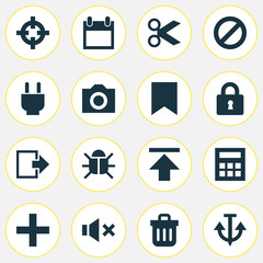 Interface Icons Set With Exit, Photo, Scissors And Other Calculate   Elements. Isolated Vector Illustration Interface Icons.