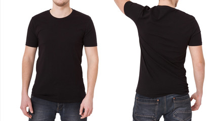 T-shirt template. Front and back view. Mock up isolated on white background.