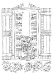 Kitty on the window. Hand drawn picture. Sketch for anti-stress adult coloring book in zen-tangle style. Vector illustration  for coloring page.