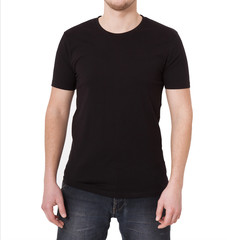 Young man wearing blank t-shirt isolated on white background. Copy space. Place for advertisement. Front view