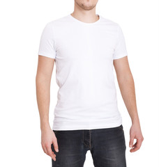 Young man wearing blank white t-shirt isolated on white background. Copy space. Place for advertisement