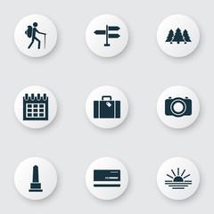 Traveling Icons Set With Sundown, Landmark, Mastercard Sundown  Elements. Isolated Vector Illustration Traveling Icons.