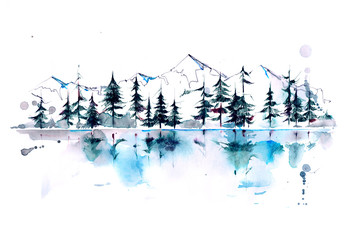 Photo sur Aluminium Peintures mountain forest