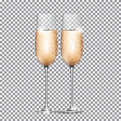 Glass of Champagne on on Transparent Background. Vector Illustration