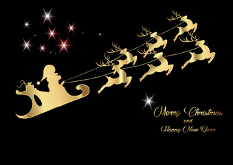 Merry Christmas and a Happy New Year, Santa Claus of gold with a reindeer flying, greeting card with stars, vector
