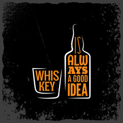 Whiskey is always a good idea lettering background.